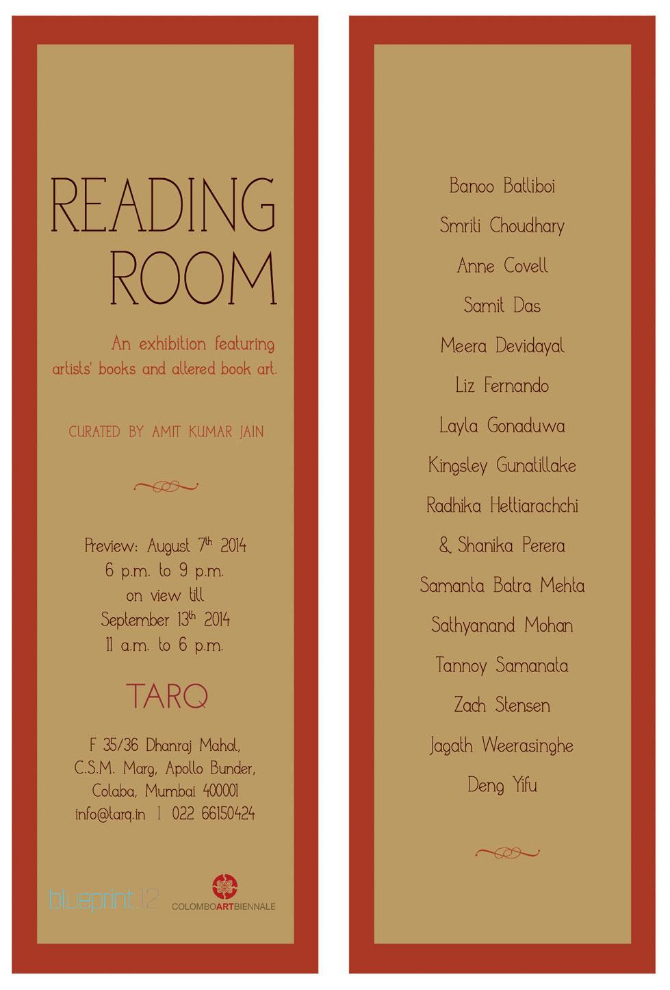 Reading Room, altered book art, Blueprint12, Tarq Mumbai