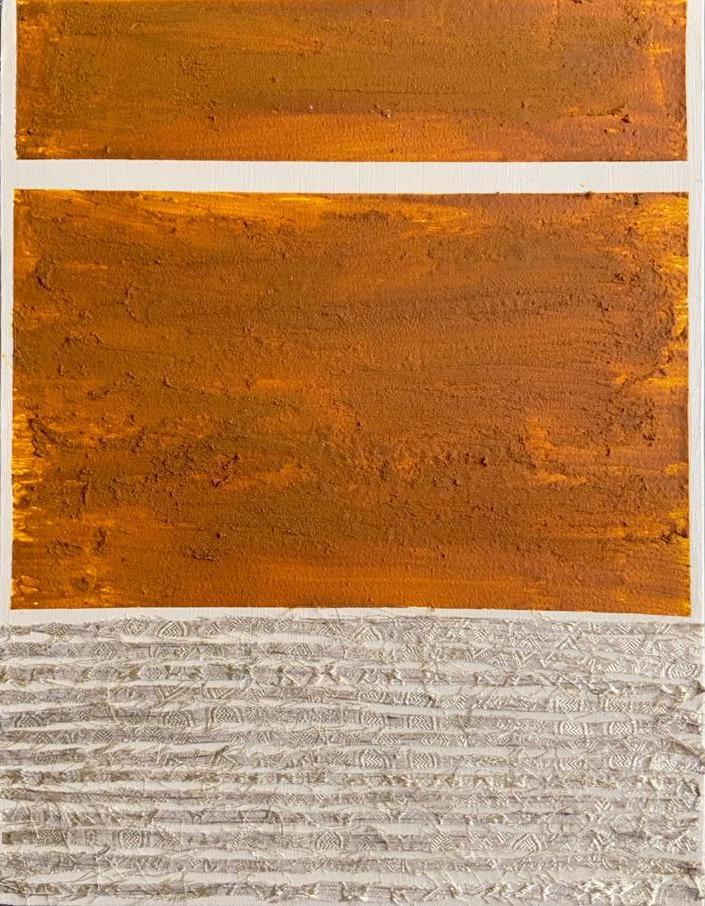 Meghana Gavireddygari, Banaras Silk and gold leaf on fabric