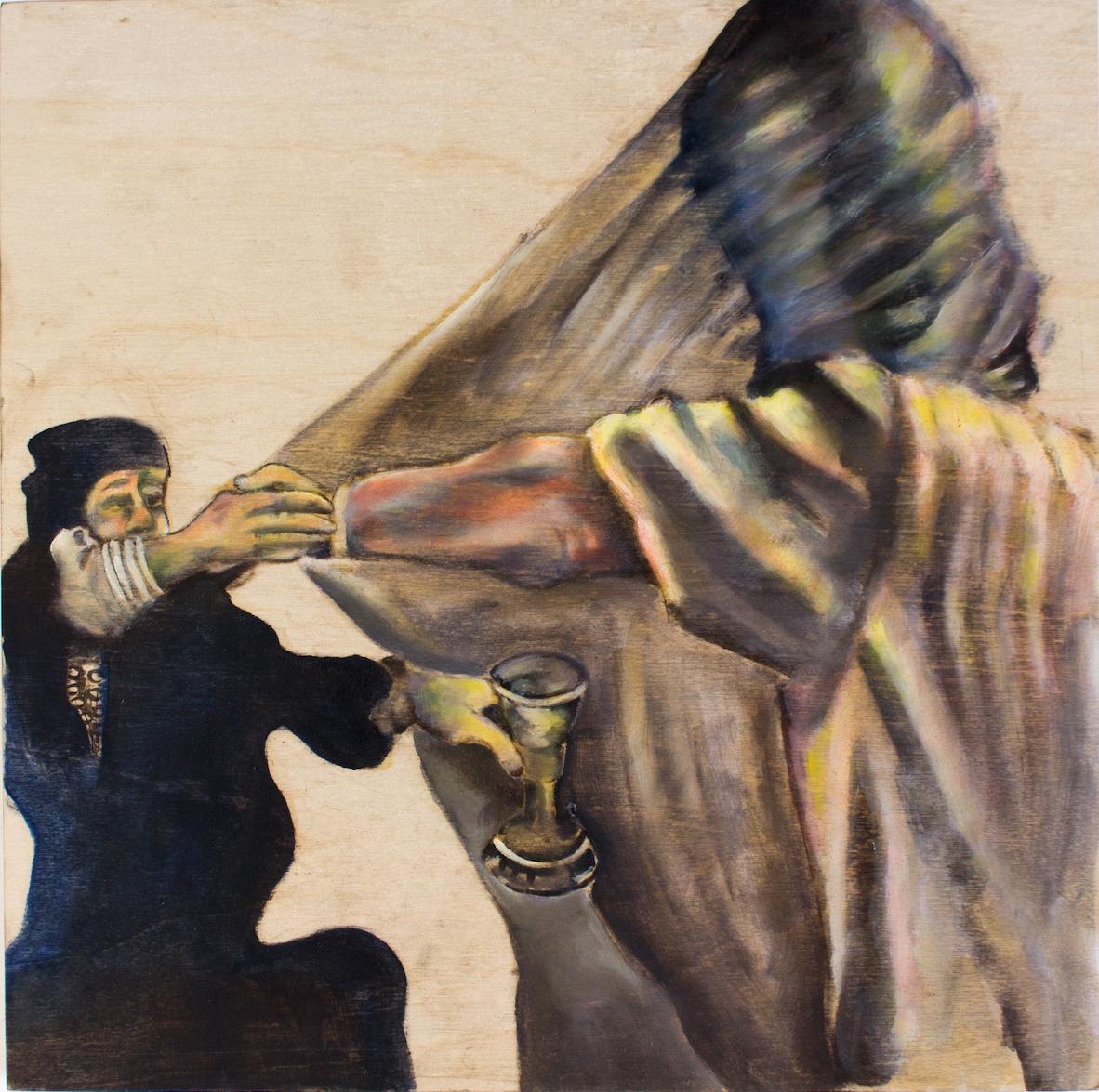 Namrata arjun, performative art, oil on panel